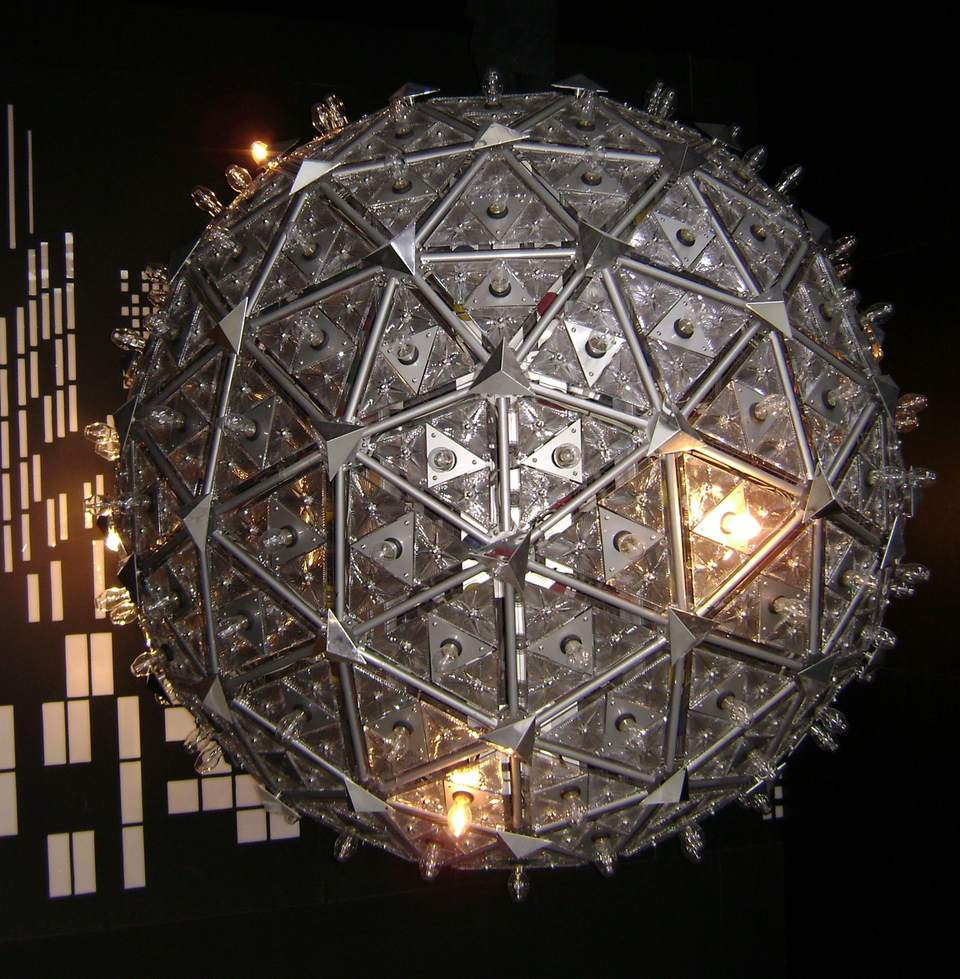 The Times Square Ball designed for the new millennium in 2000, on display at the Waterford Crystal Factory.