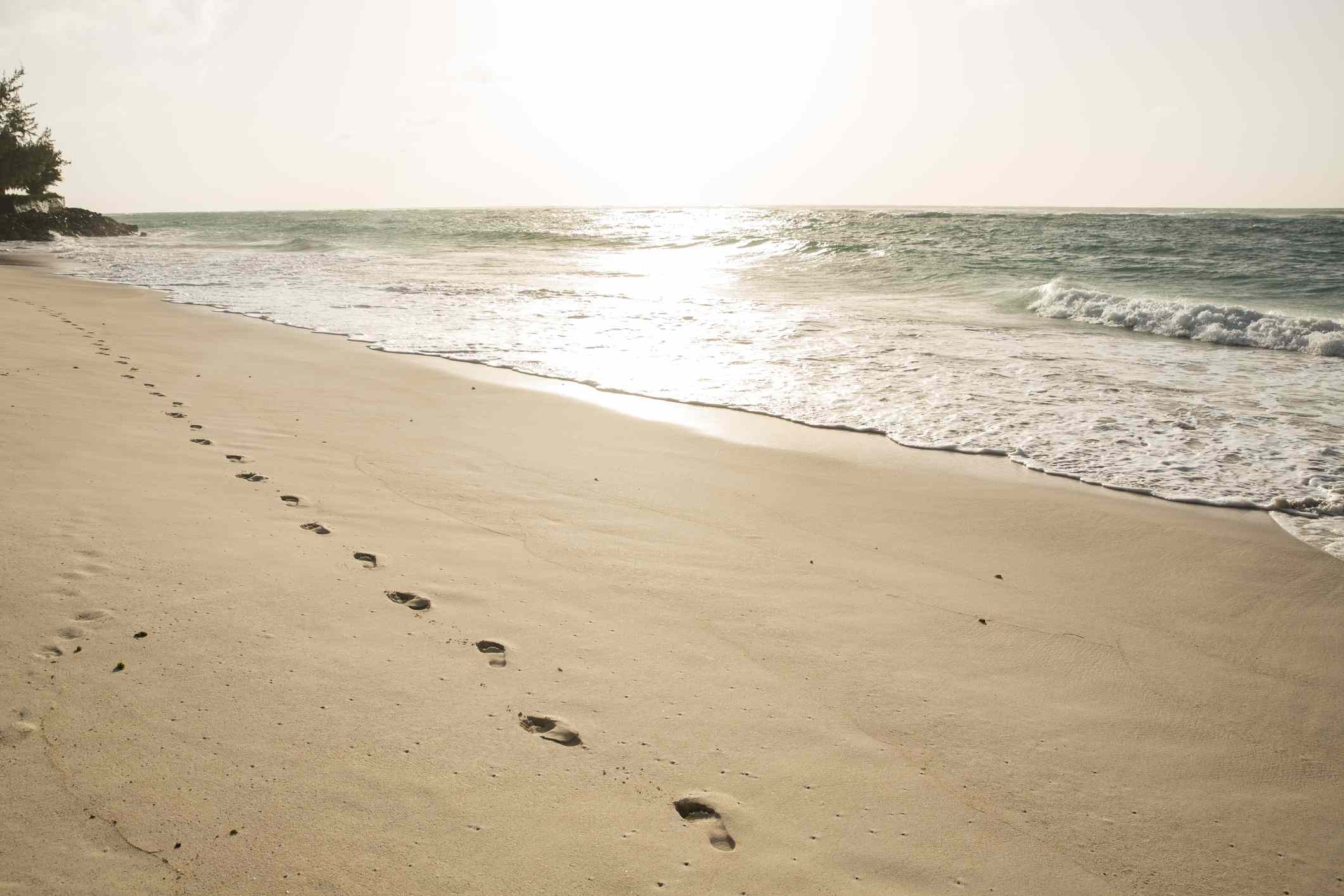 Silver Sands Beach with footsteps in the sand