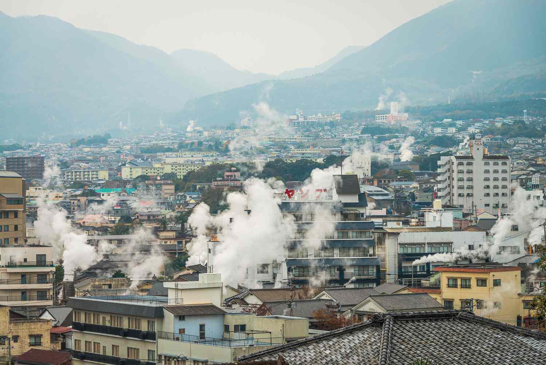 Steam rising in Beppu