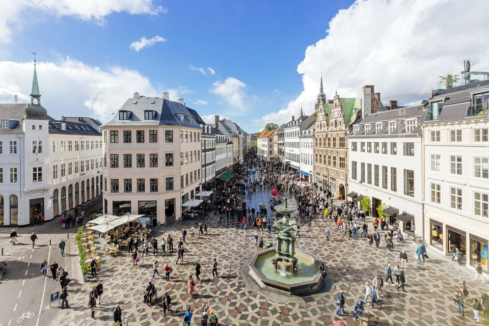 Amagertorv town square in Copenhagen on a sunny day, high angle view, Denmark