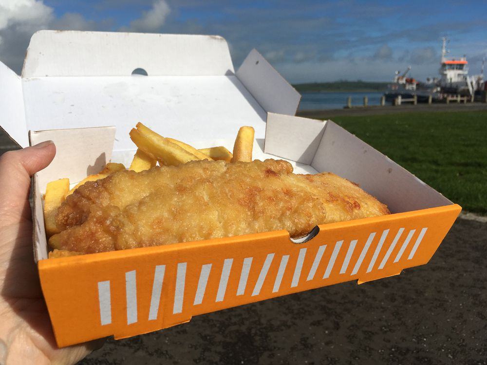 Fish and chips in a box by Strangford Loch in Northern Ireland