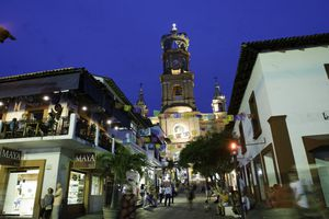 Puerto Vallarta's Our Lady of Guadalupe church at night