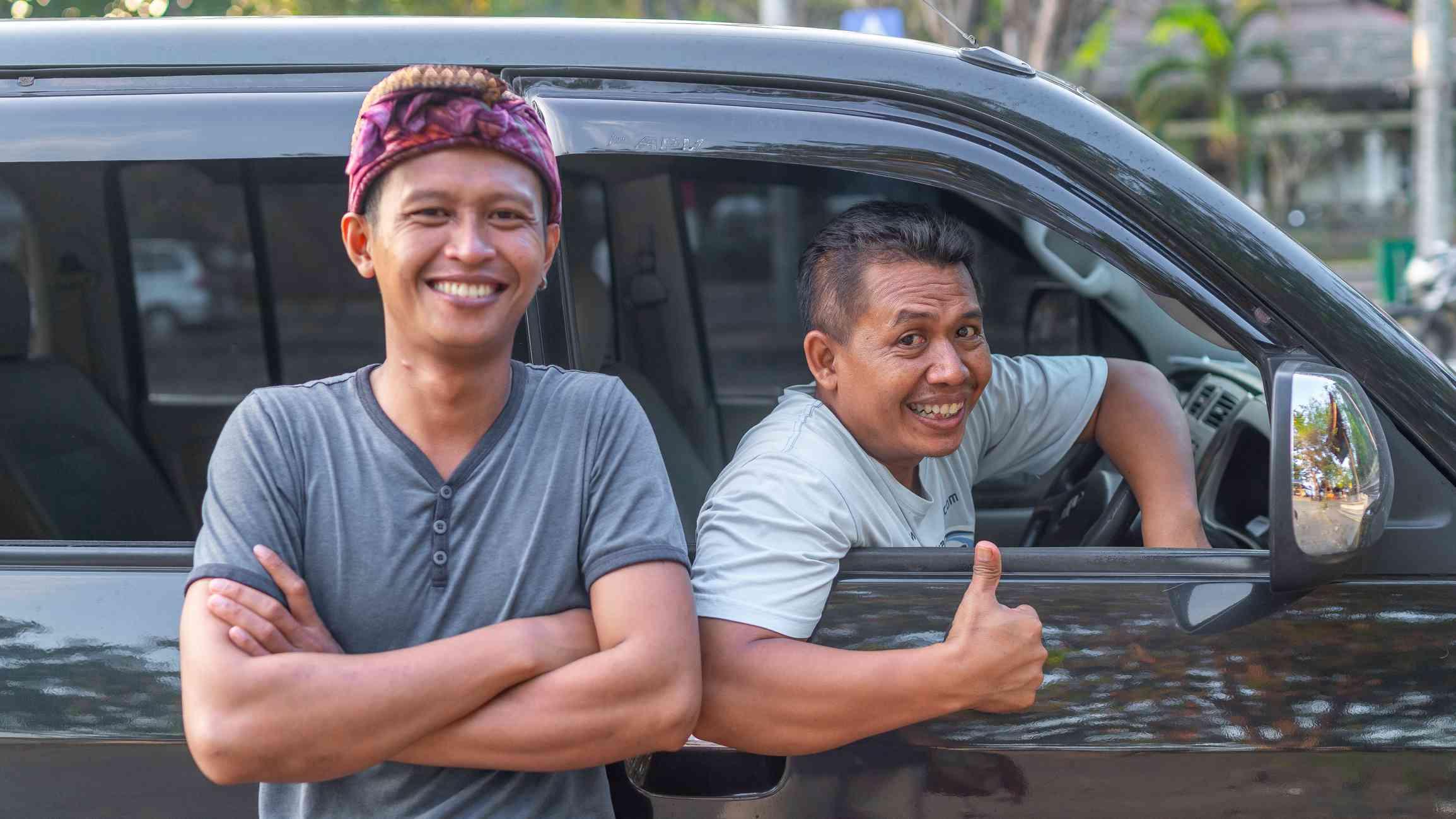 Tourist and driver in Bali, Indonesia