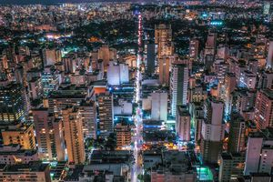 High Angle View Of Illuminated Buildings In Sao Paulo At Night