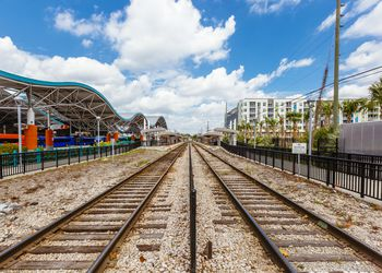 Train Tracks and Bus Station in Downtown Orlando, Florida