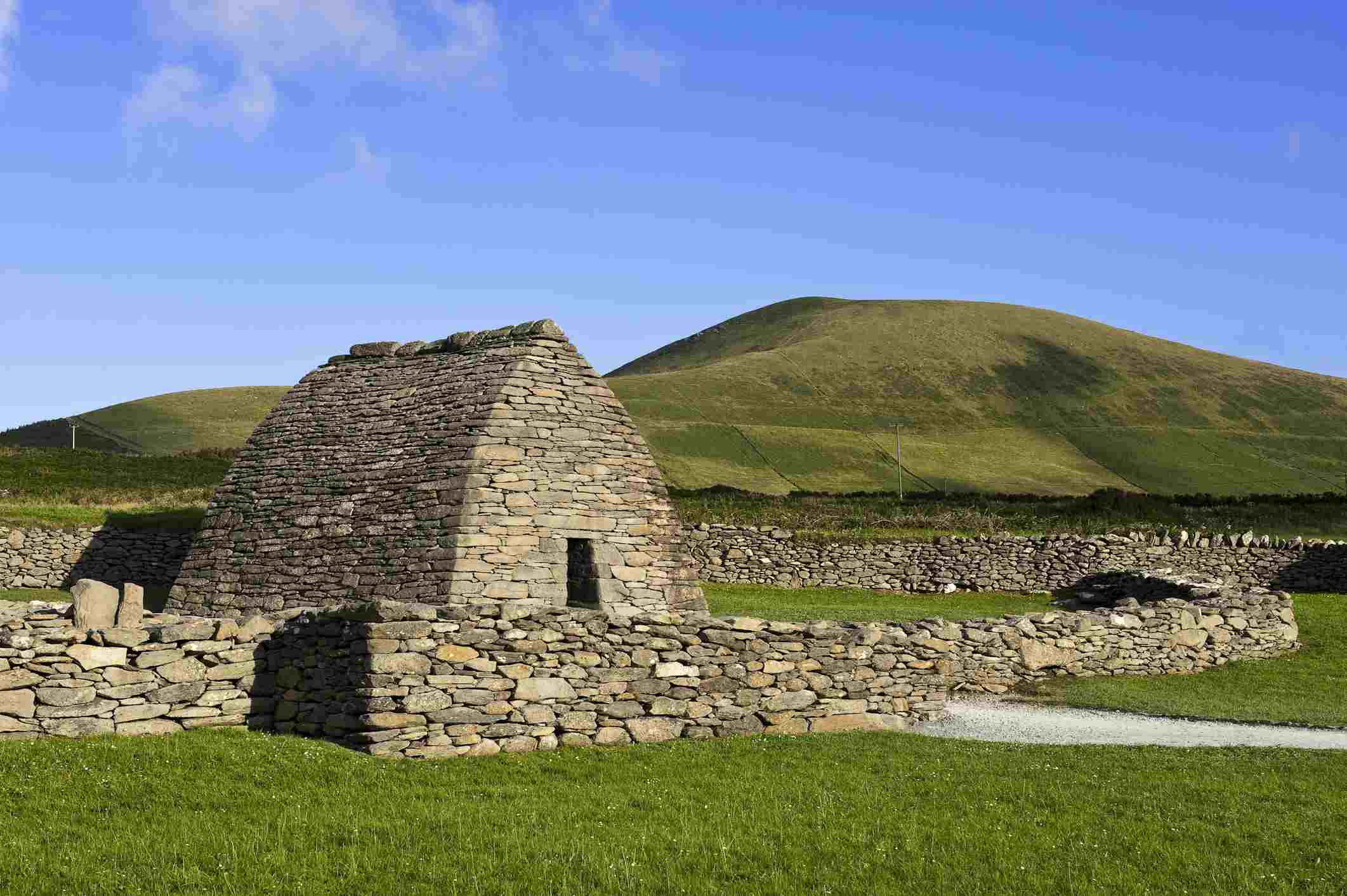 The keel-shaped stone structure of the Oratory of Gallarus in Kerry County, Dingle Peninsula,