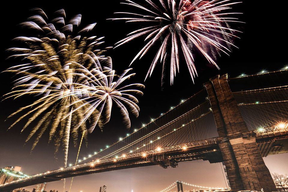 Fireworks over Brooklyn Bridge