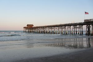Cocoa Beach pier from the North side. Looking out to sea.