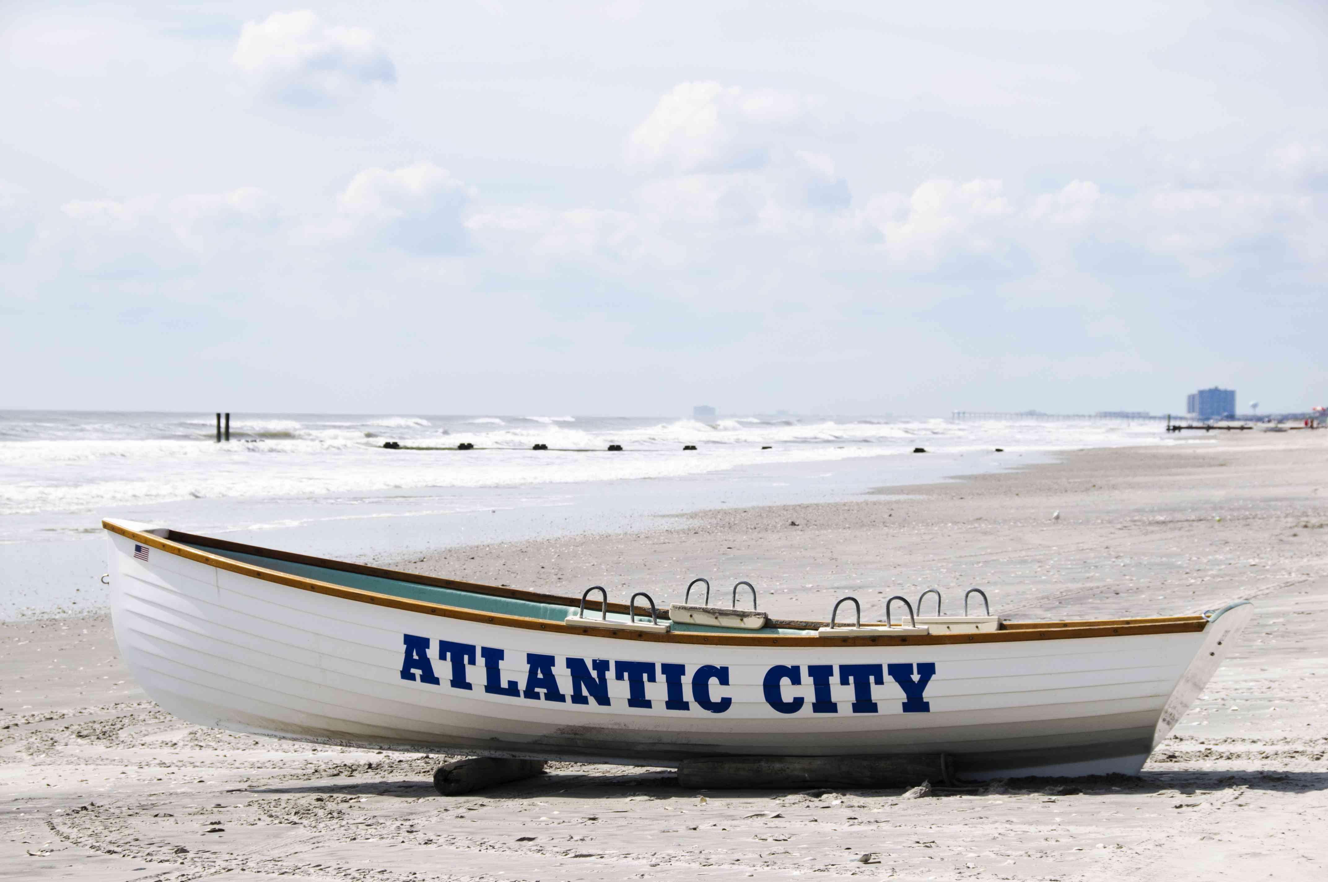 Boat on Atlantic City beach