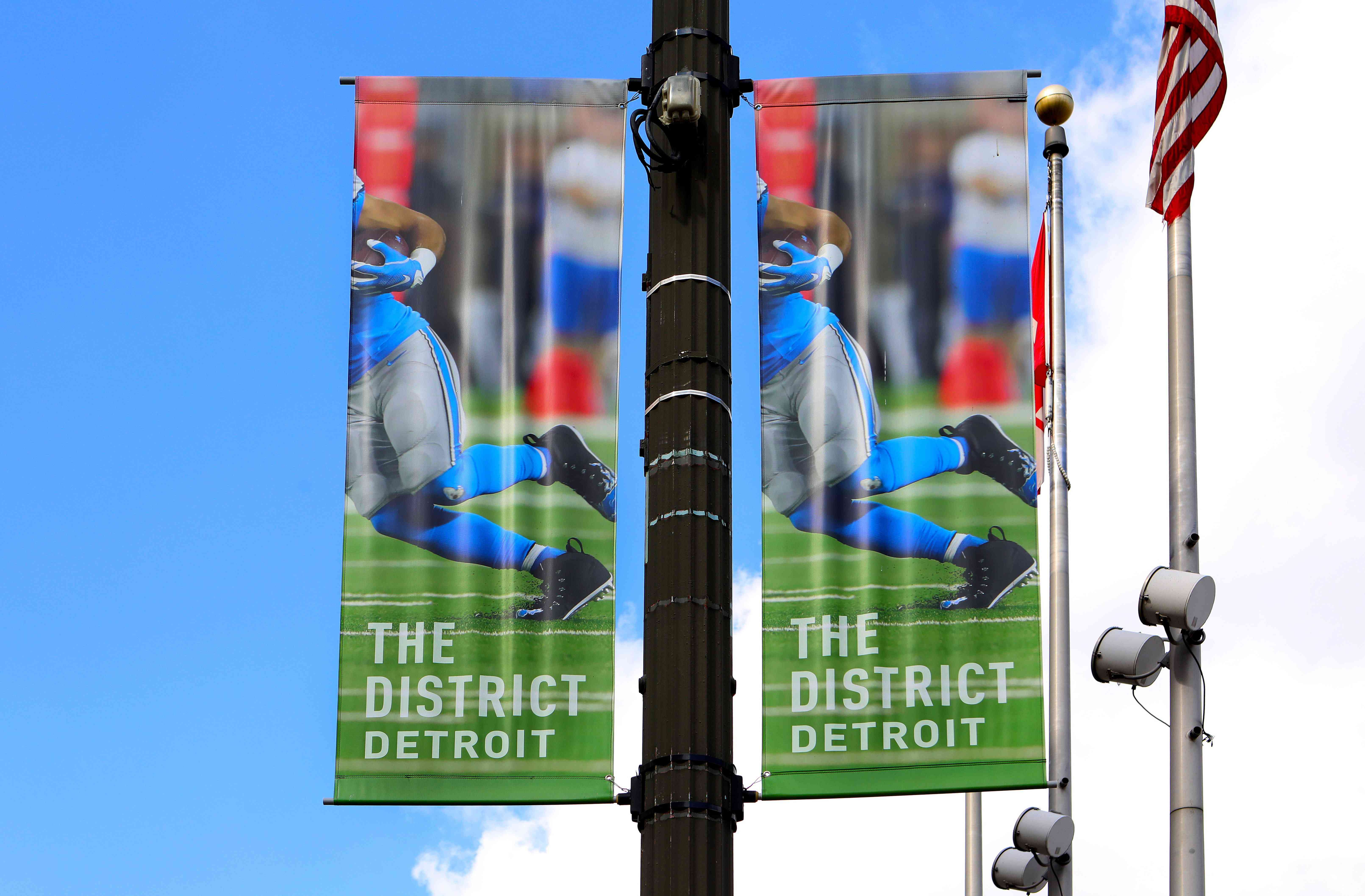 The District Detroit banner flies downtown in Detroit, Michigan