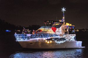 Boat decorated with lights