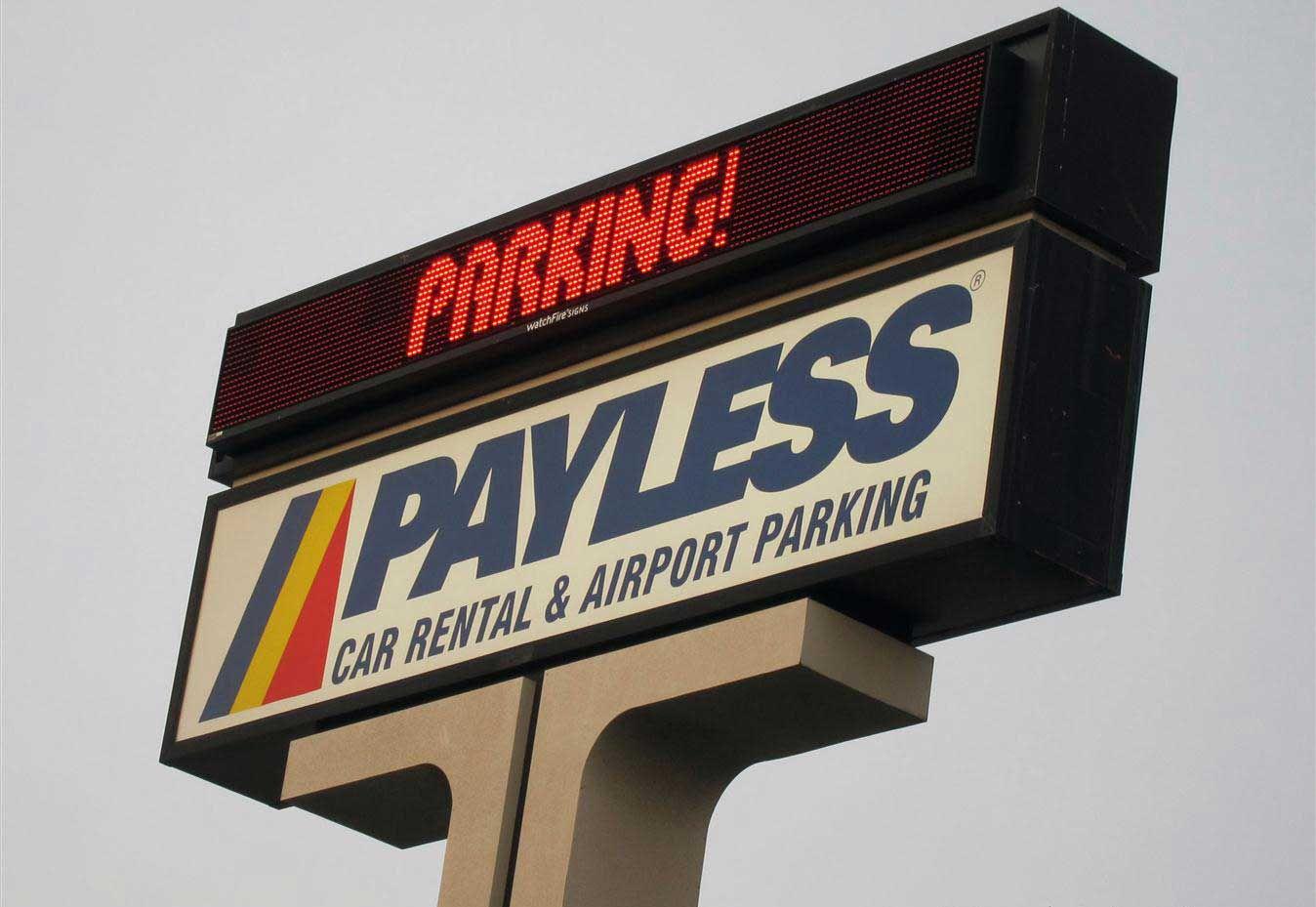 Payless car rental sign