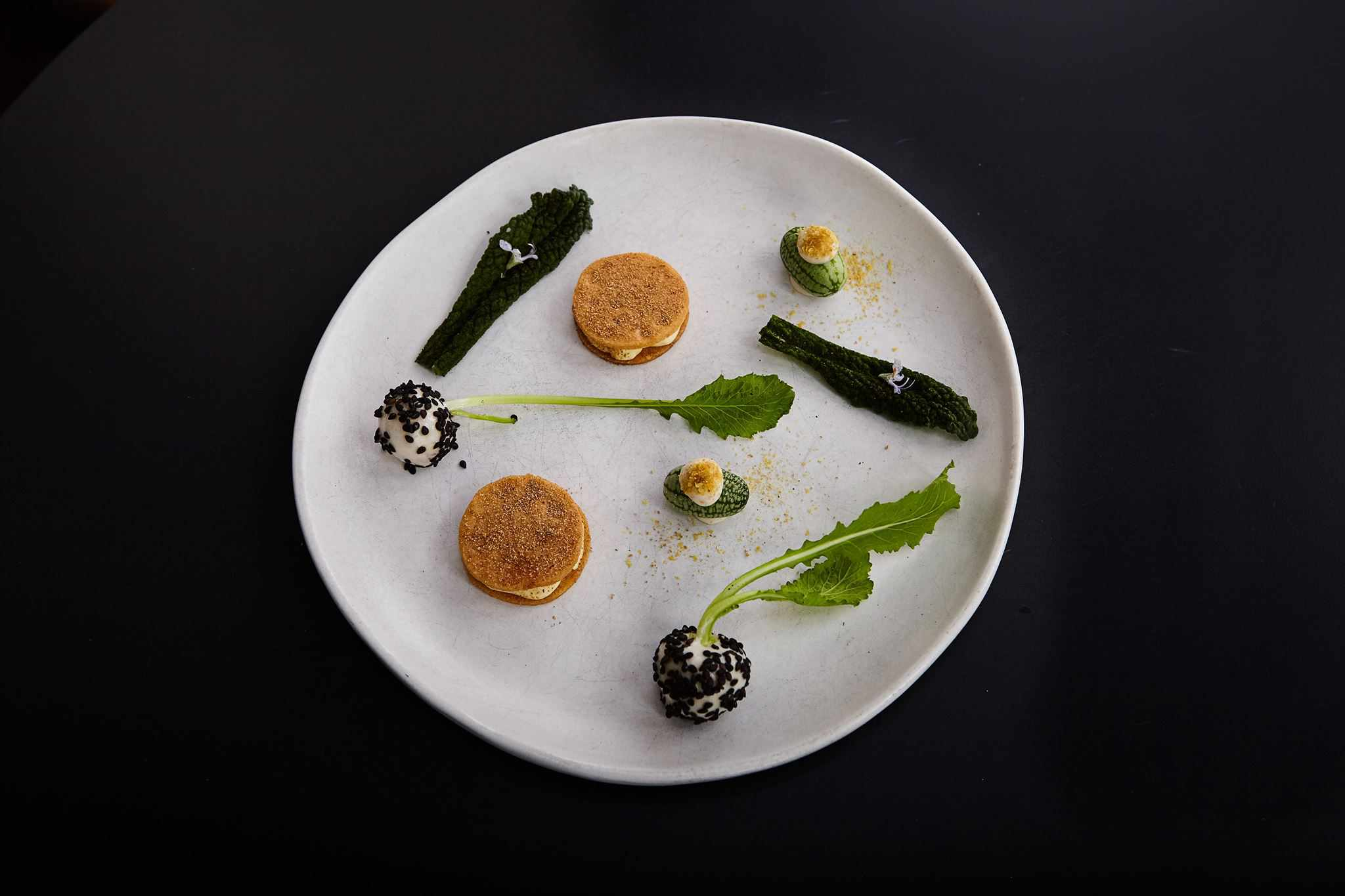 Artistic plate of greens at Yellow