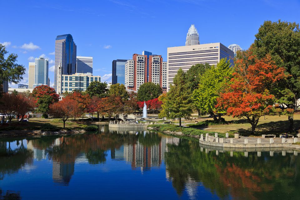 Charlotte Skyline from Marshall Park, North Carolina
