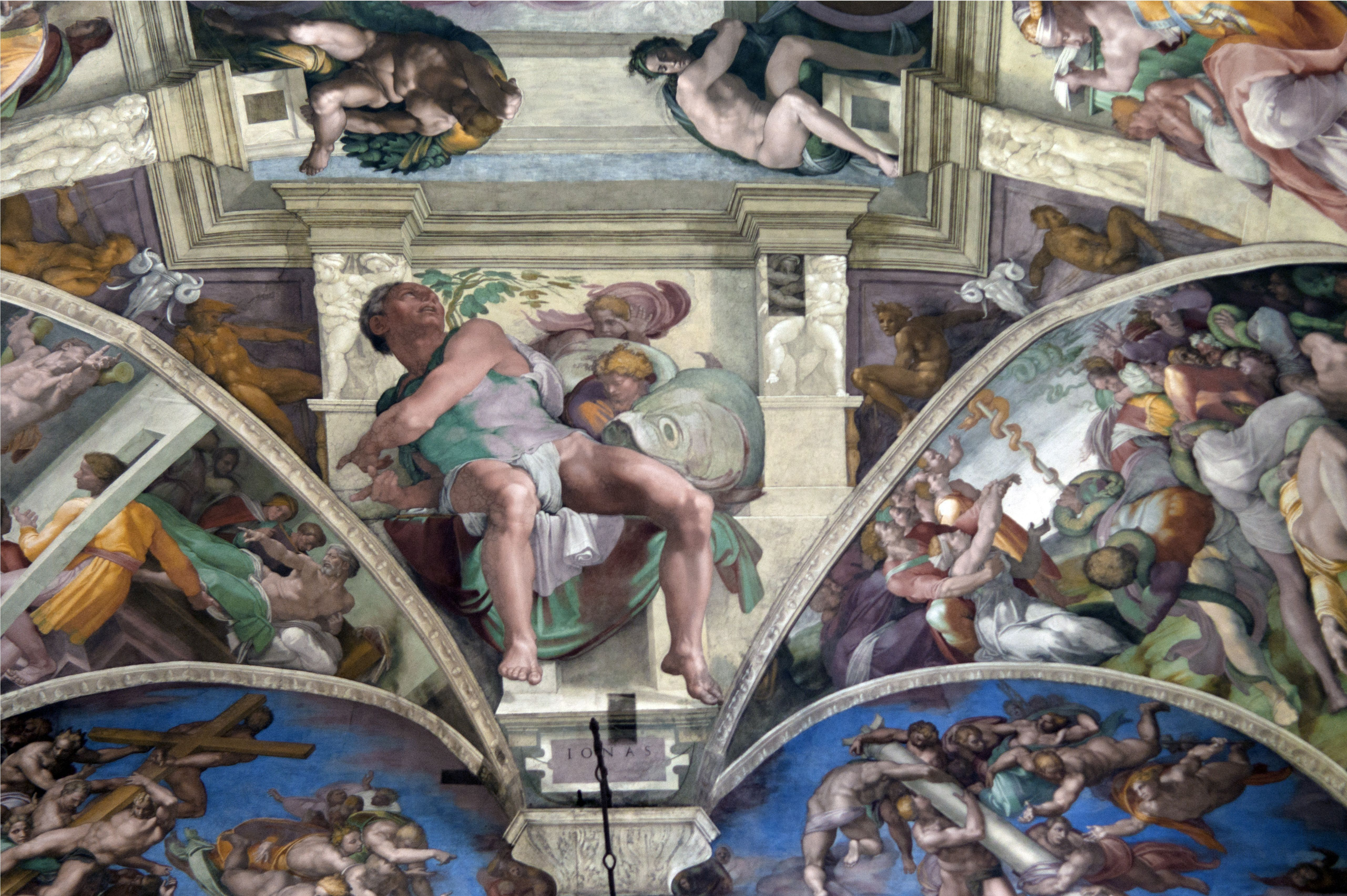 Michelangelo's frescoes of Seven Prophets above the altar, Sistine Chapel, Vatican, Rome, Italy