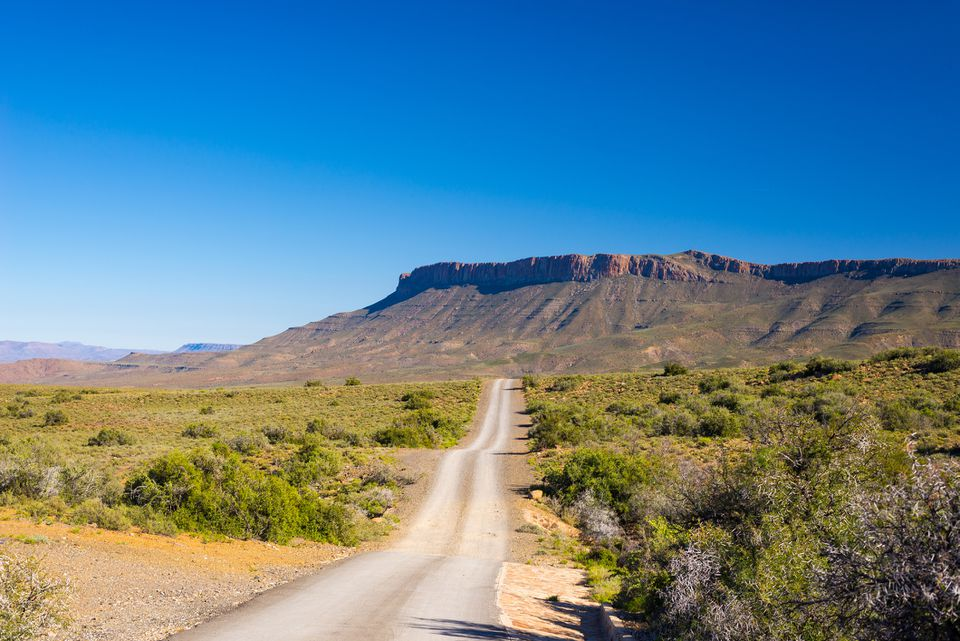 View of escarpment from road traveling through Karoo National Park