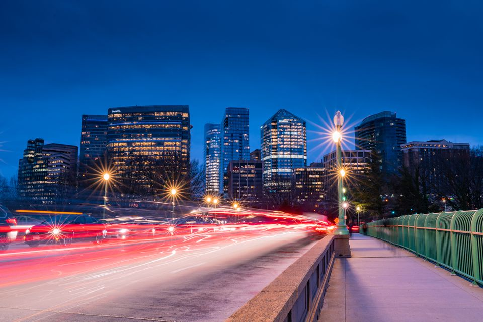 Long exposure view of the Key Bridge and Rosslyn, Virginia at night