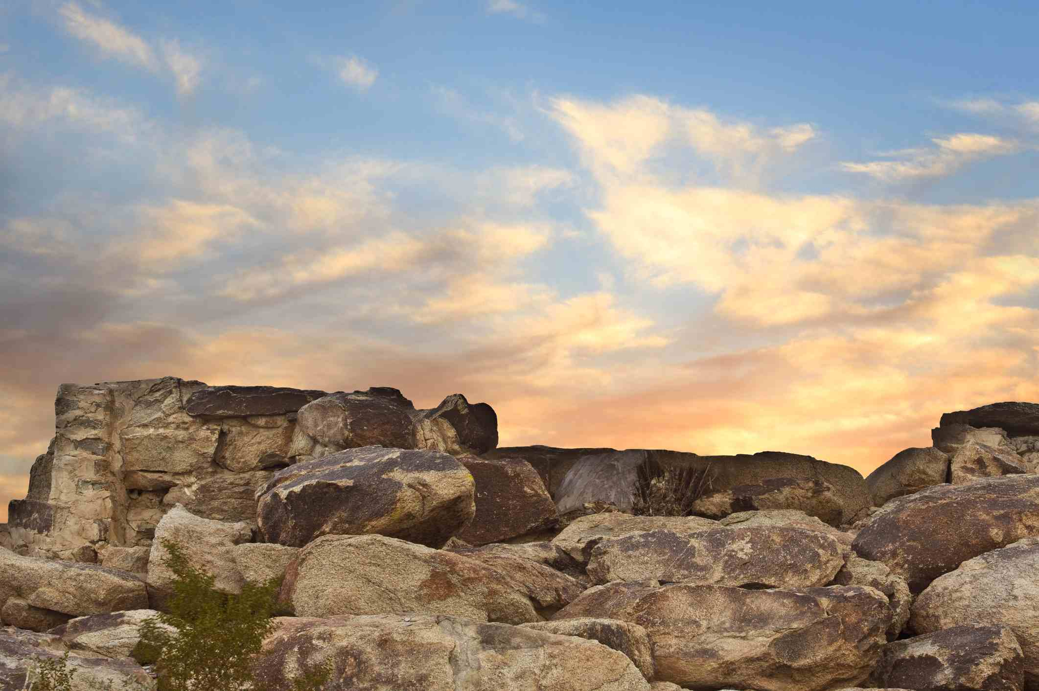 South Mountain Park landscape with Boulders and colorful sky