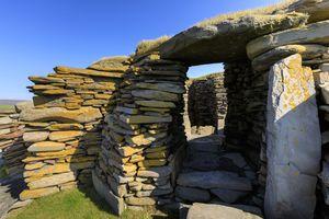 Ancient stone house at Jarlshof in Shetland