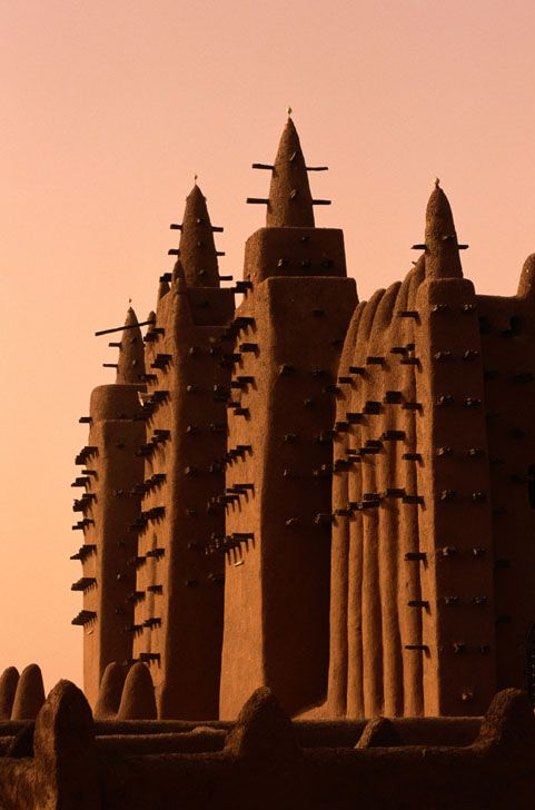 Grande Mosque made of mud, Djenne, Mali