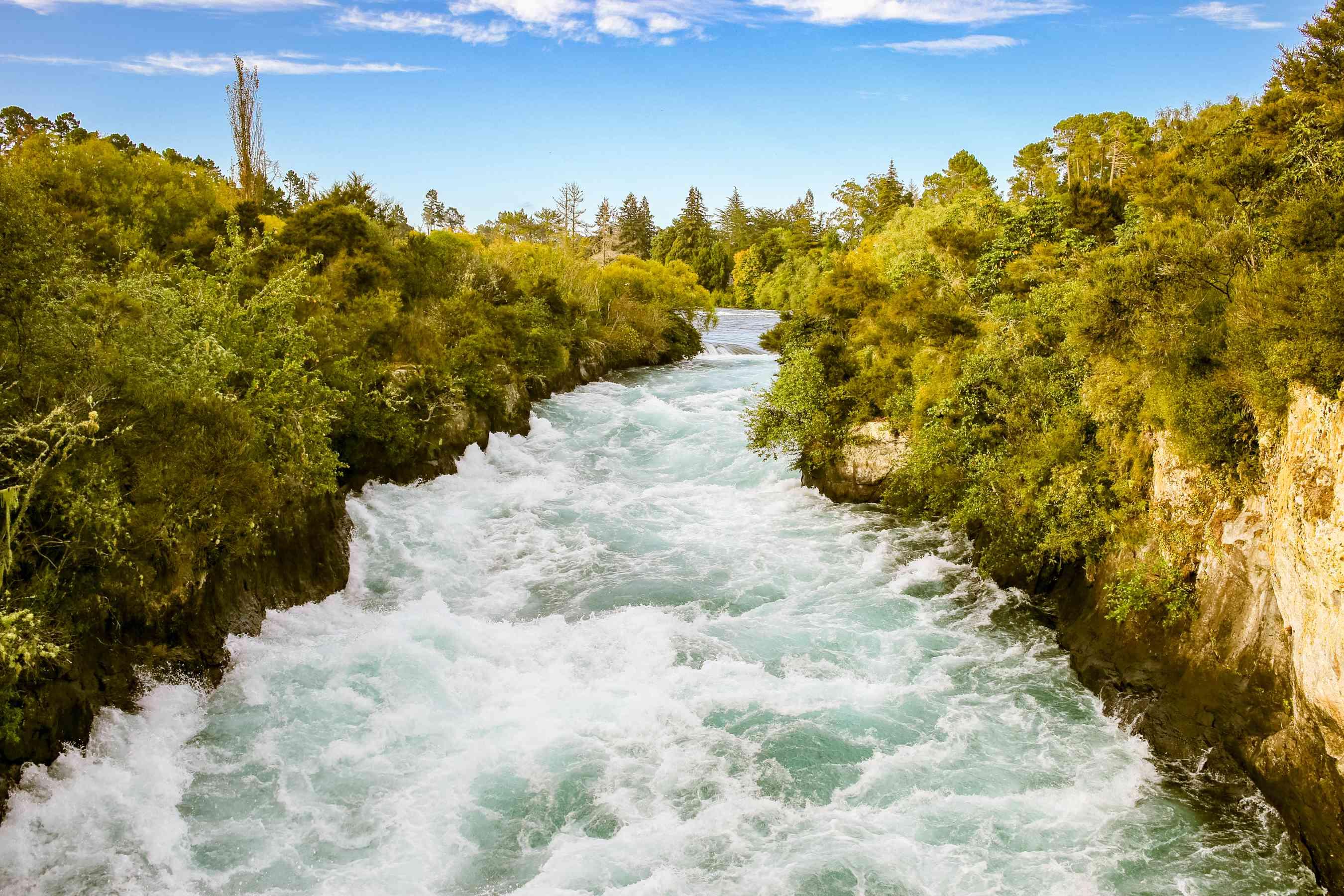 Roaring waters in Huka Falls