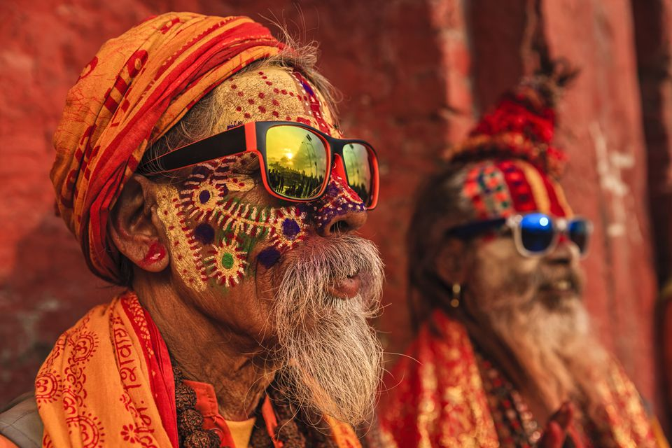 Colorful Sadhus (holy men) in India