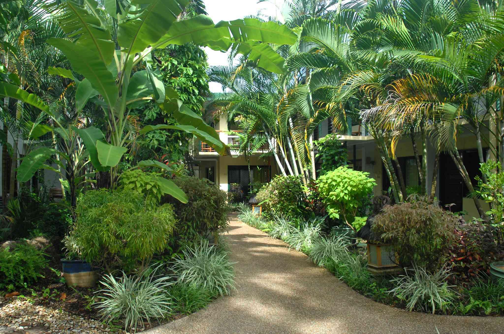 Exterior de los apartamentos Bay Village con exuberante plantas verdes