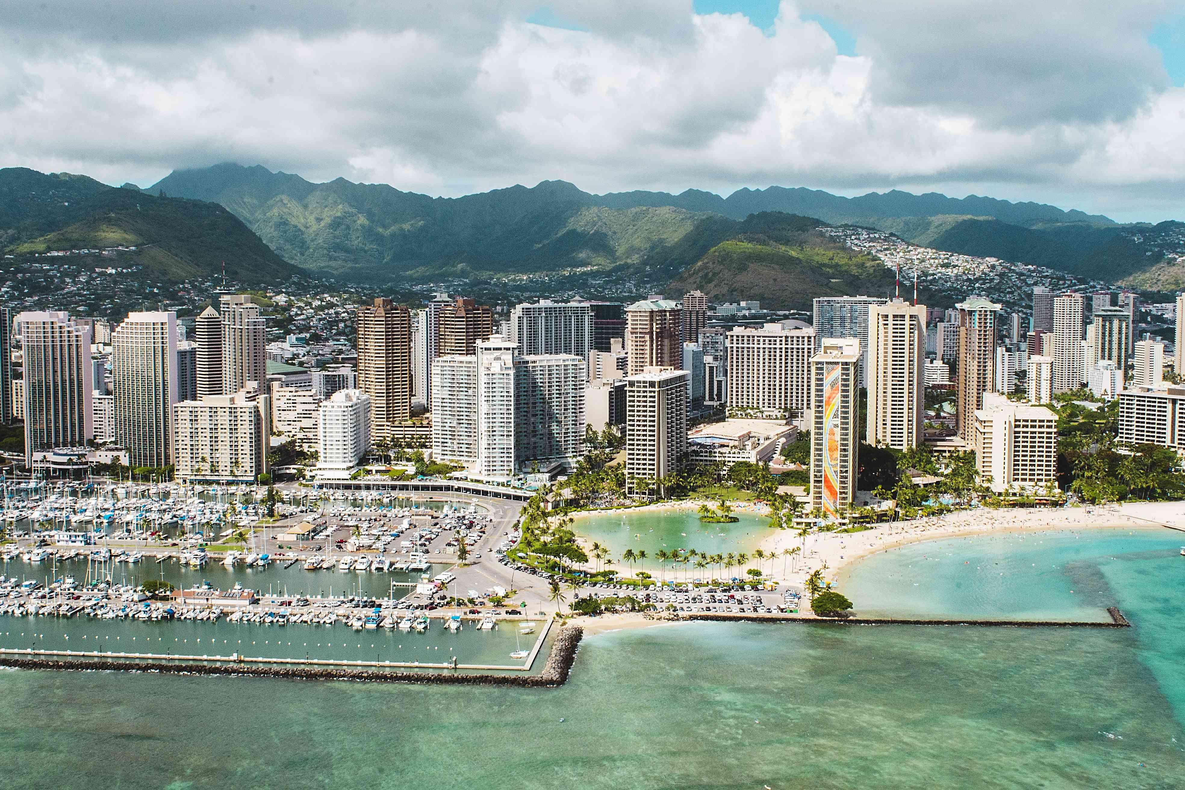 Aerial view of Waikiki skyline