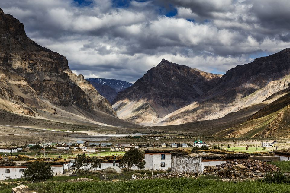 Traditional houses in Losar village, 4113m, with mountain ranges of Himalayas, Spiti, Himachal Pradesh