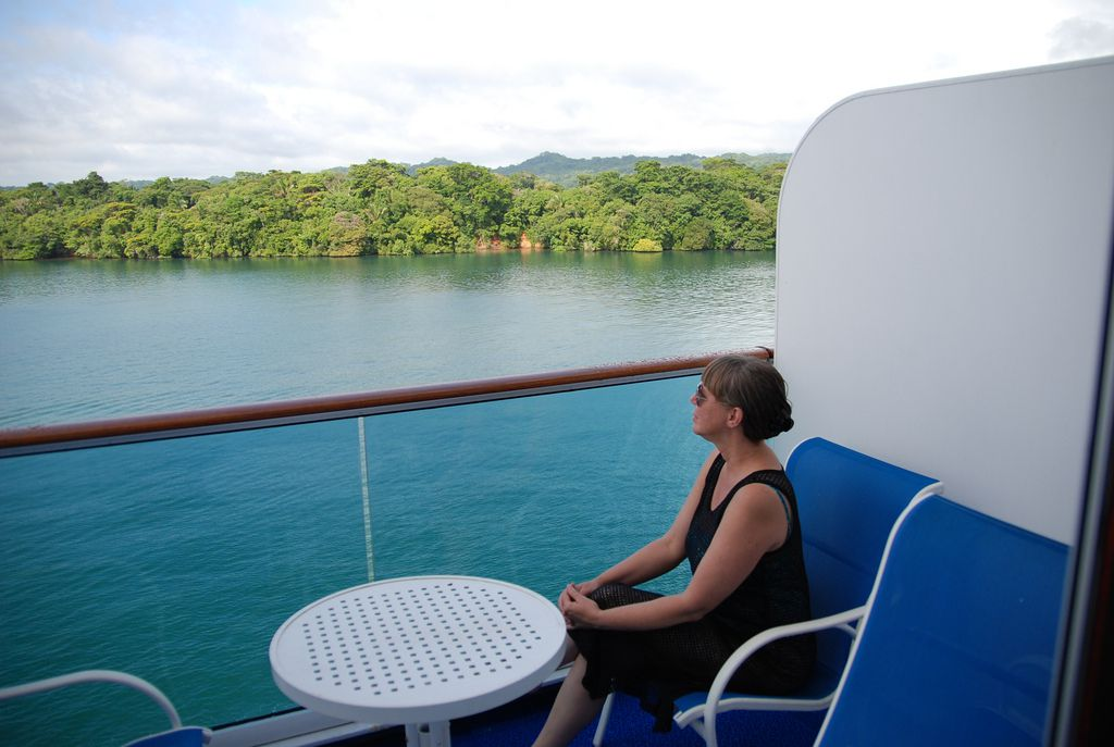View of Gatun Lake from balcony. Taken aboard the Coral Princess.