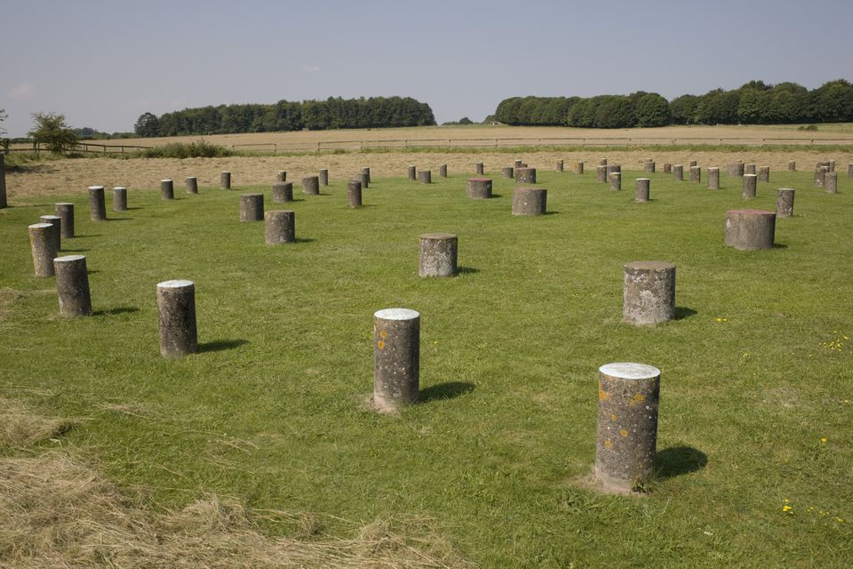 Woodhenge, showing circular design, Amesbury, Wiltshire, England, United Kingdom, Europe