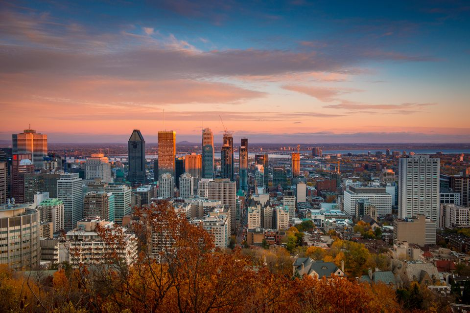 Skyline of downtown Montreal in autumn
