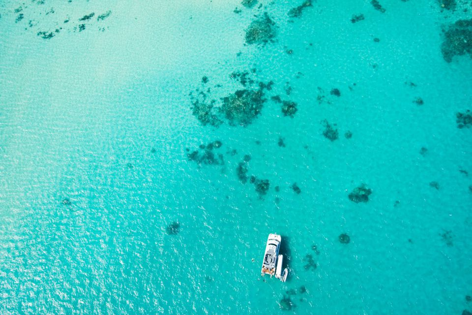 Great Barrier Reef with boat from the sky