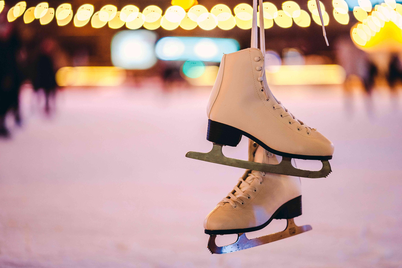 Ice skates hanging at skating rink