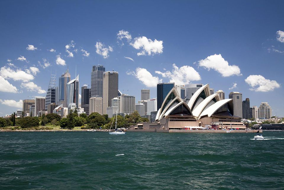 Sydney Opera House in Sydney Harbor with downtown skyline, Sydney, New South Wales, Australia