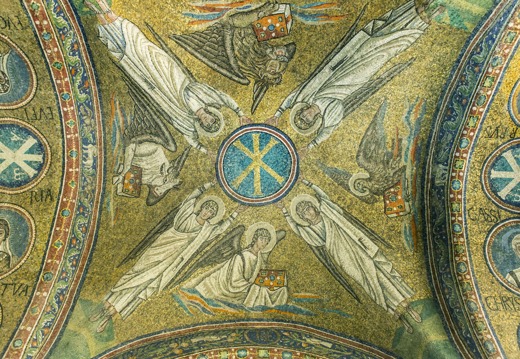 Tile mosaic in ornate dome in Basilica di SantApollinare, Ravenna, Italy