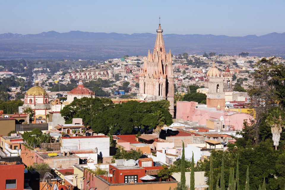 Aerial view of church in San Miguel de Allende cityscape, Guanajuato, Mexico