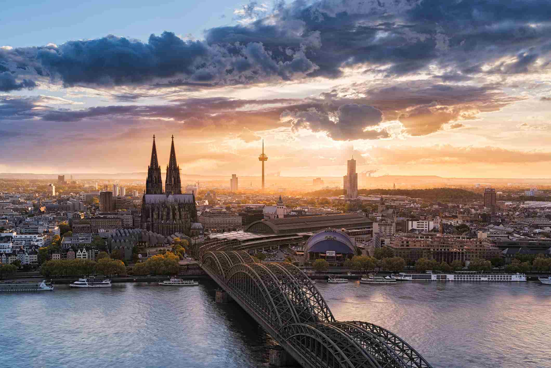 Cologne and Rhine River, Germany at sunset