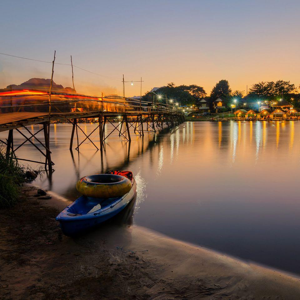 Tube and kayak on Nam Song River, Vang Vieng, Laos