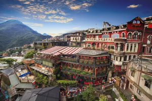 Intricate teahouses in mountain town of Juifen, Taiwan during the day