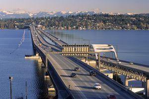 I-90 floating bridges across Lake Washington in Seattle