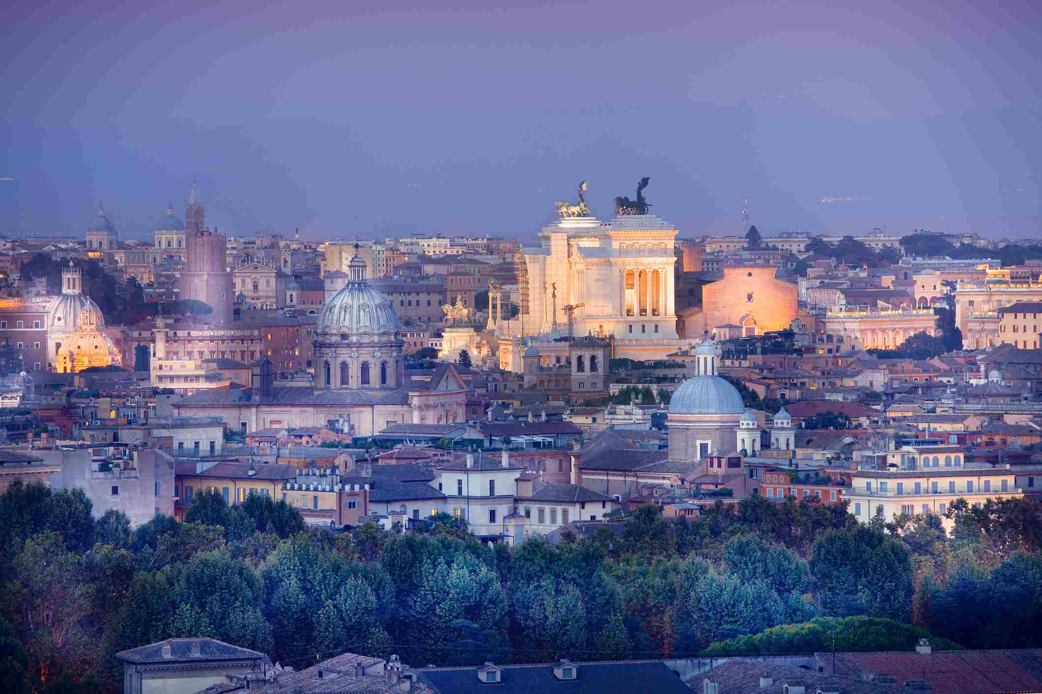Rome skyline and ancient monuments