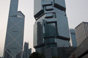 Futuristic skyscrapers in Hong Kong, global banking and finance