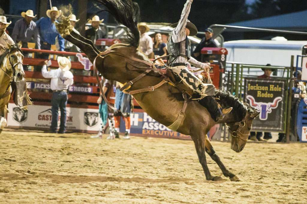 Man on a bucking horse at a rodeo