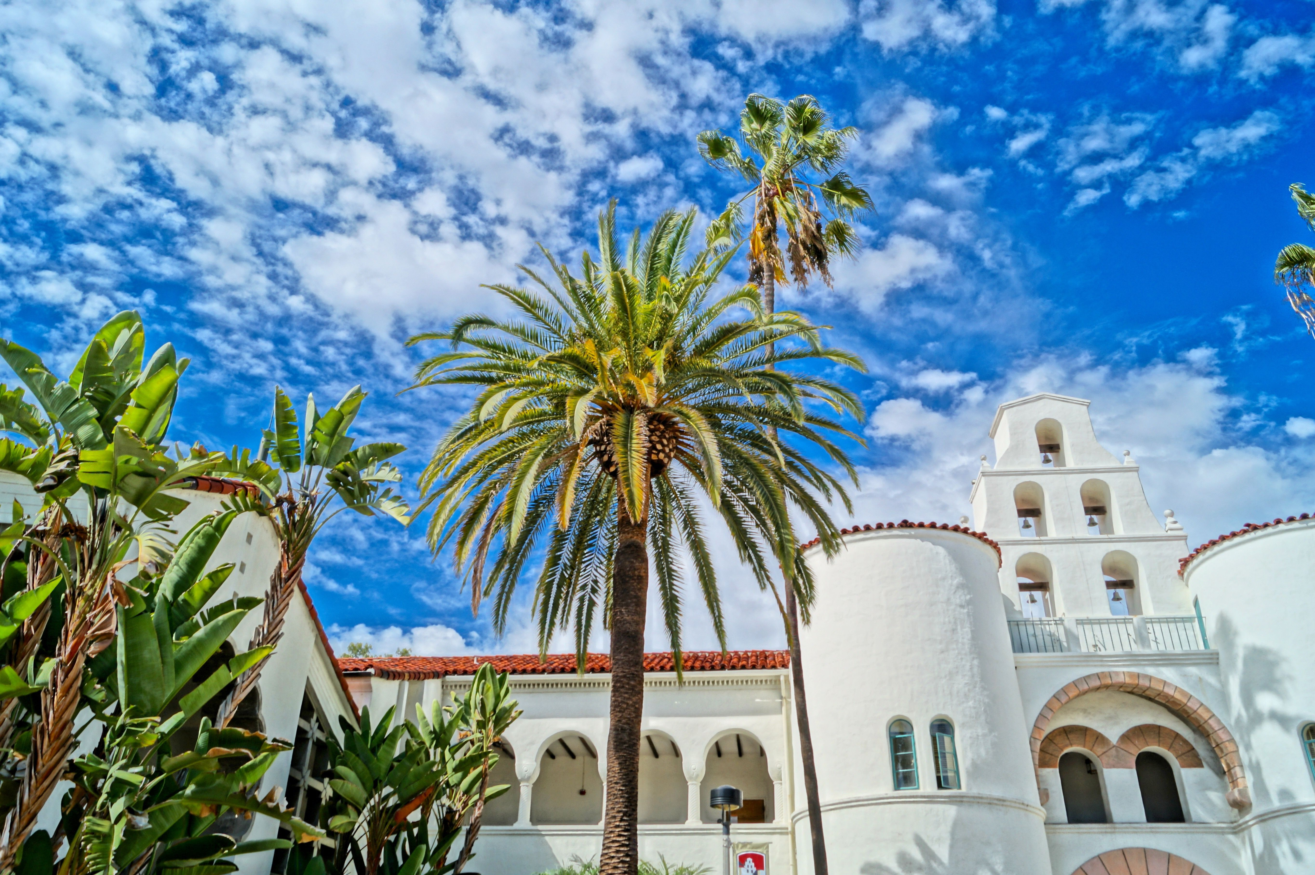 Low Angle View Of San Diego State University And Palm Trees Against Cloudy Sky