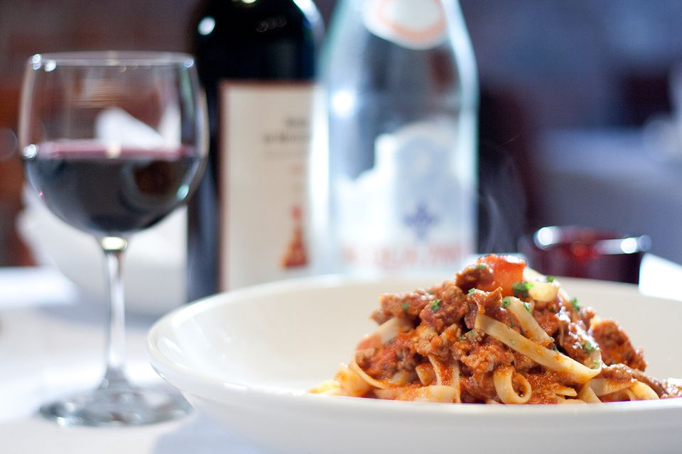 Pasta with red wine at Alla Famiglia