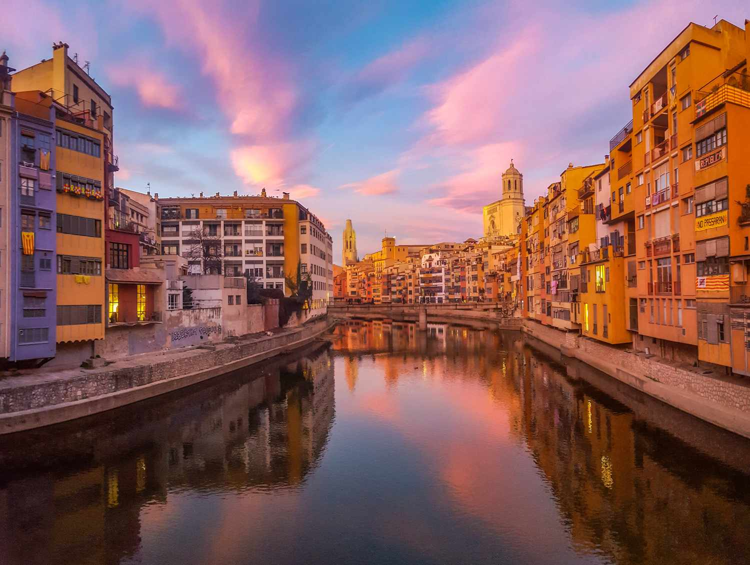 A colorful sunset in Girona, Spain