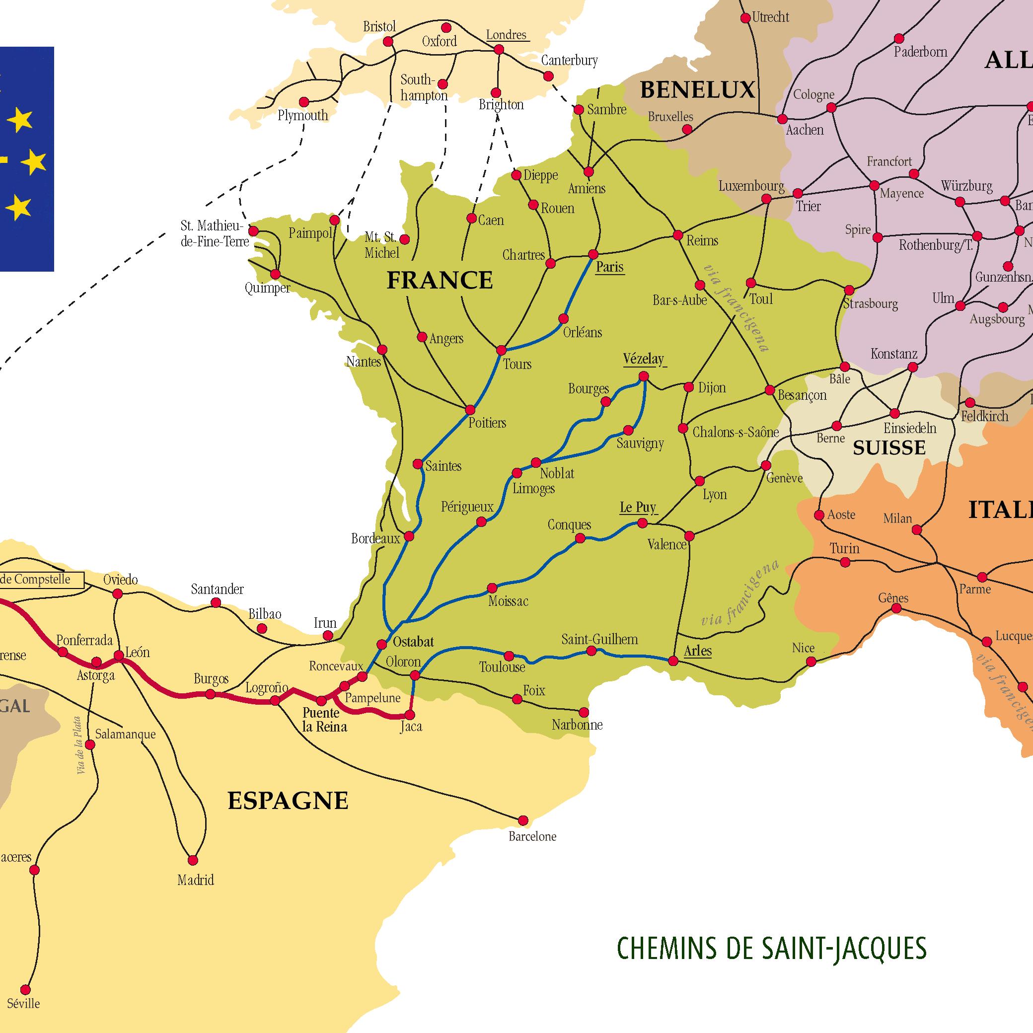 The Many Routes of the Camino de Santiago Camino De Santiago Compostela Map on