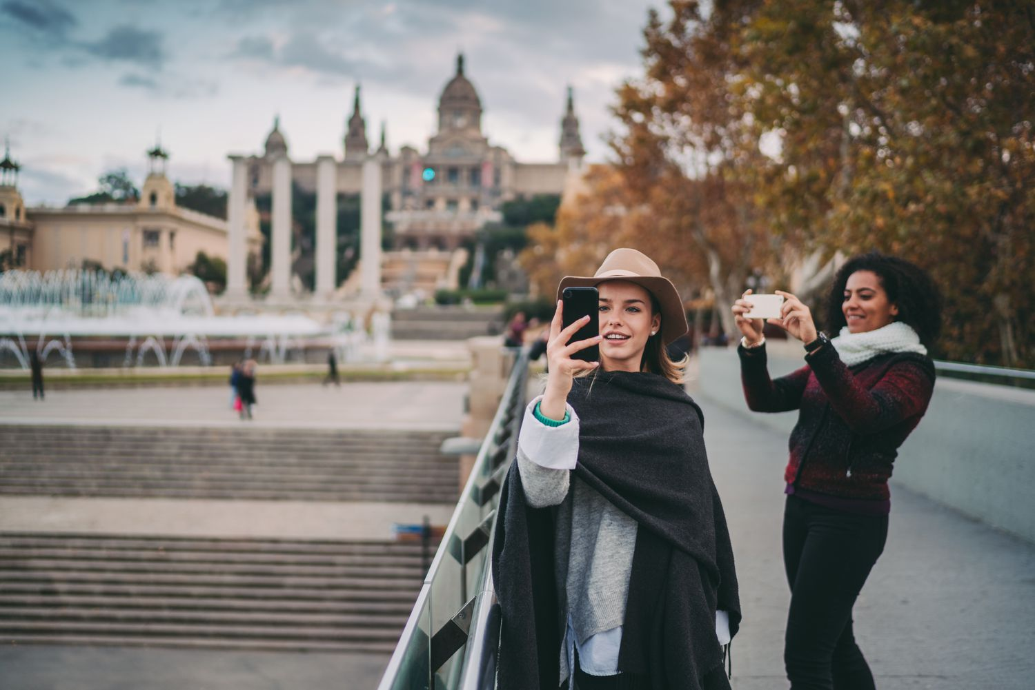 Girls taking pictures at Montjuic Castle in Barcelona