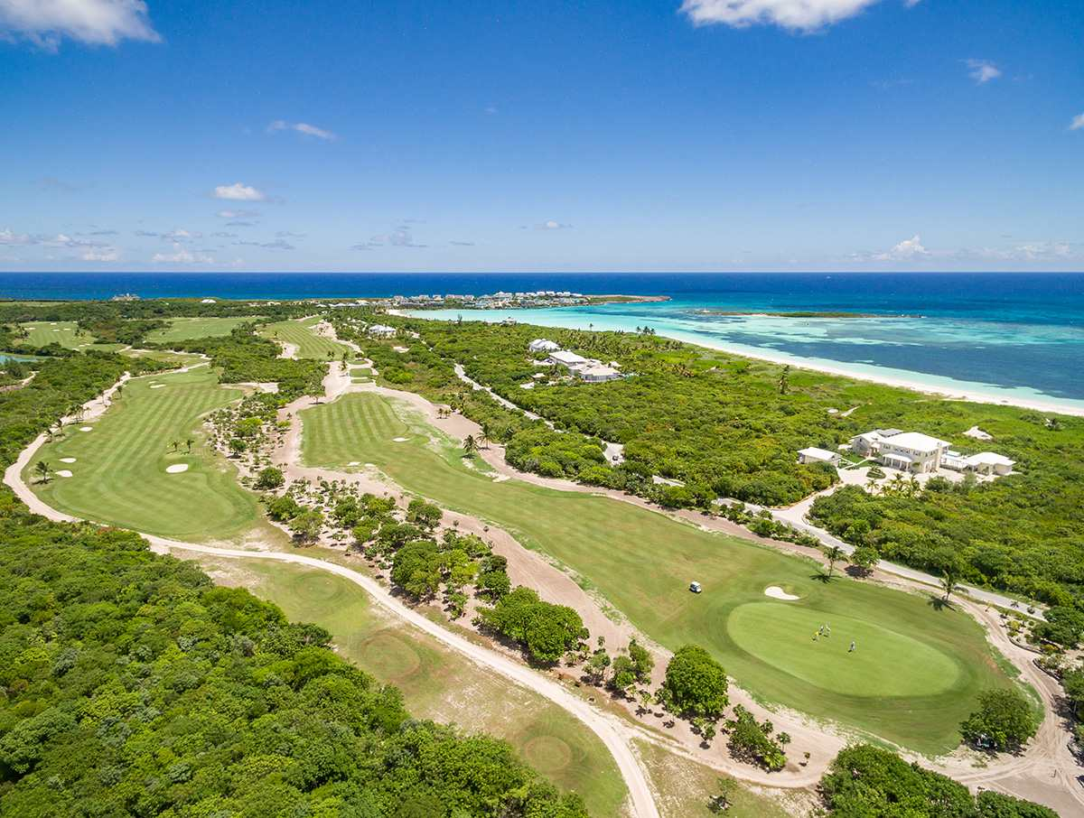 Aerial view of the Abaco Club in the Bahamas.